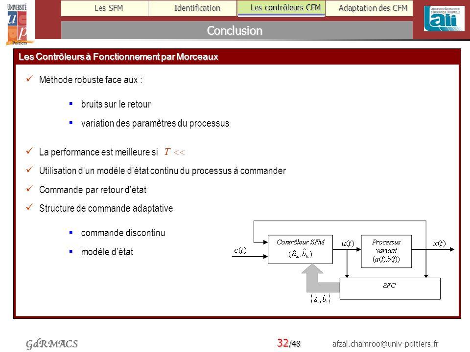 32 /48 afzal.chamroo@univ-poitiers.fr Les SFM Identification Les contrôleurs CFM Adaptation des CFM GdRMACS Conclusion Les contrôleurs CFM Les Contrôleurs à Fonctionnement par Morceaux Méthode robuste face aux : bruits sur le retour variation des paramètres du processus La performance est meilleure si Utilisation dun modèle détat continu du processus à commander Commande par retour détat Structure de commande adaptative commande discontinu modèle détat