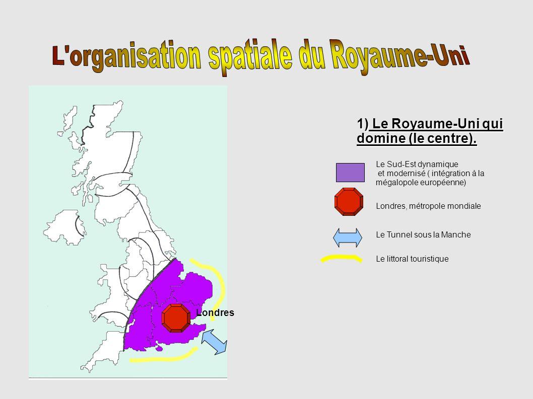 2) le Royaume-Uni qui se développe Région en cours de reconversion Façade dynamique, hydrocarbures et ouverture sur l Europe Conduite de gaz Conduite de pétrole Principaux ports Glasgow Edimbourg Manchester