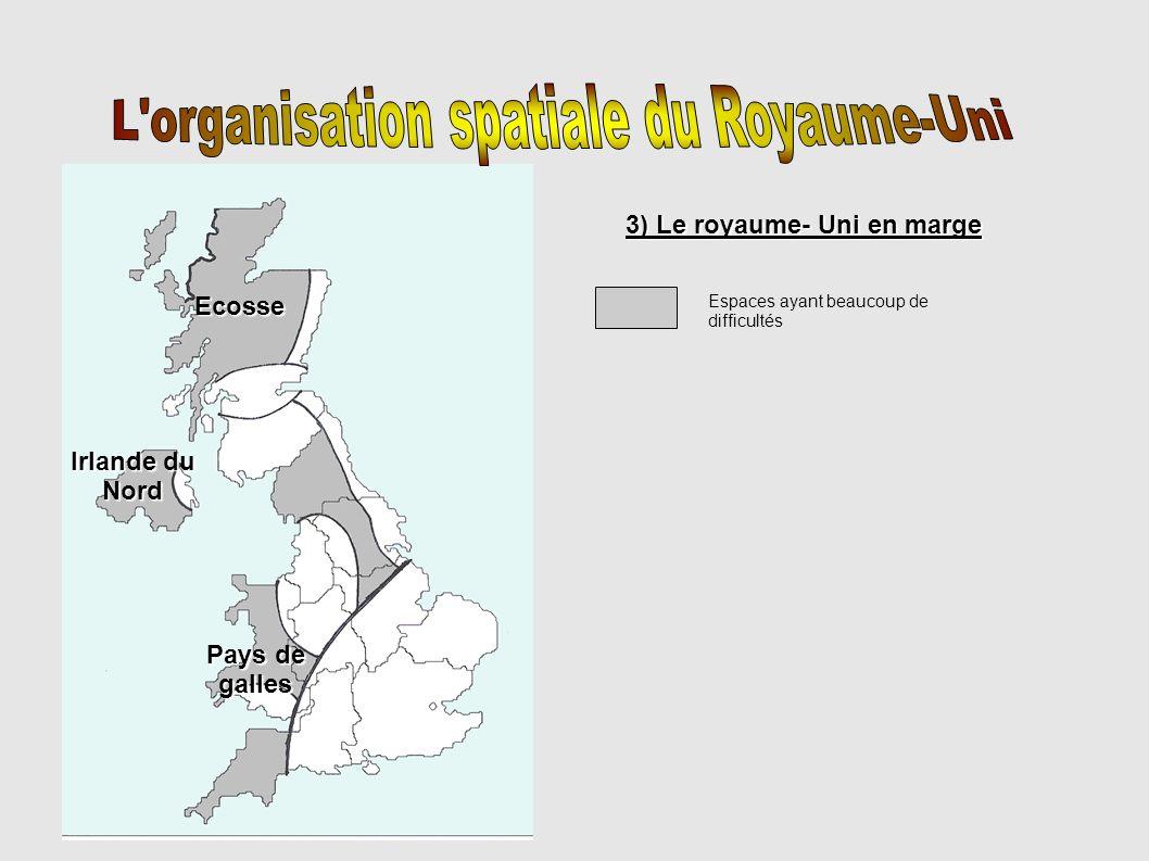 Glasgow Edimbourg Manchester 1) le Royaume-uni qui domine (le centre) Le sud est dynamique et modernisé (intégration à la mégalopole européenne) Londres, métropole mondiale Tunnel sous la Manche Littoral touristique Londres 2) le Royaume-Uni qui se développe 2) le Royaume-Uni qui se développe Façade dynamique, hydrocarbures et ouverture sur l Europe Région en cours de reconversion Conduite de gaz Conduite de pétrole Principaux ports 3) Le royaume-uni en marge 3) Le royaume-uni en marge E spaces ayant beaucoup de difficultés