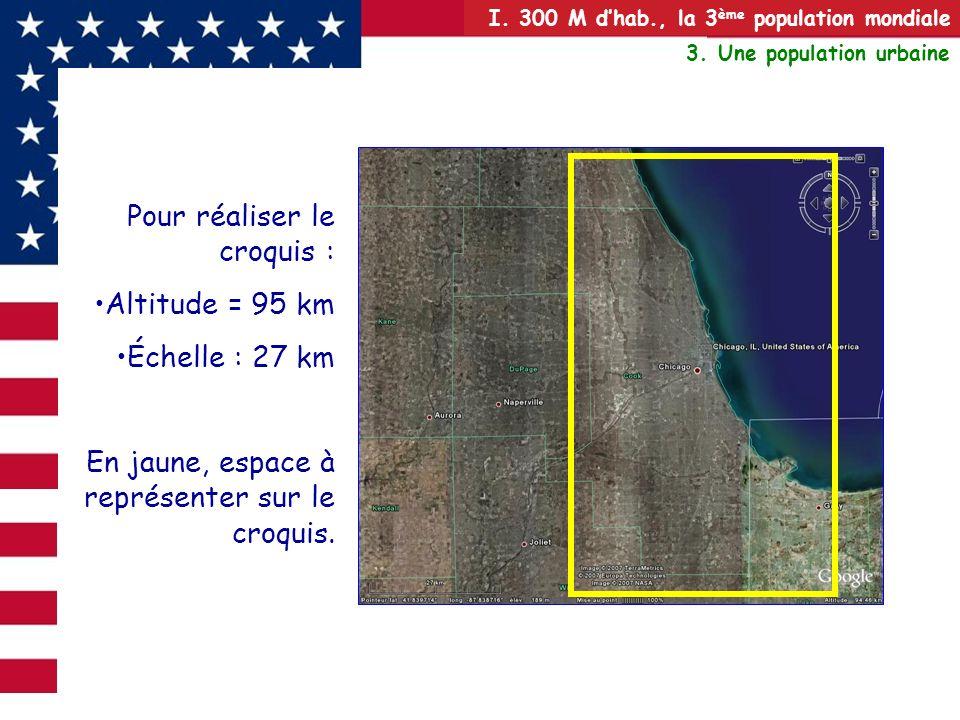 I. 300 M dhab., la 3 ème population mondiale 3. Une population urbaine Pour réaliser le croquis : Altitude = 95 km Échelle : 27 km En jaune, espace à