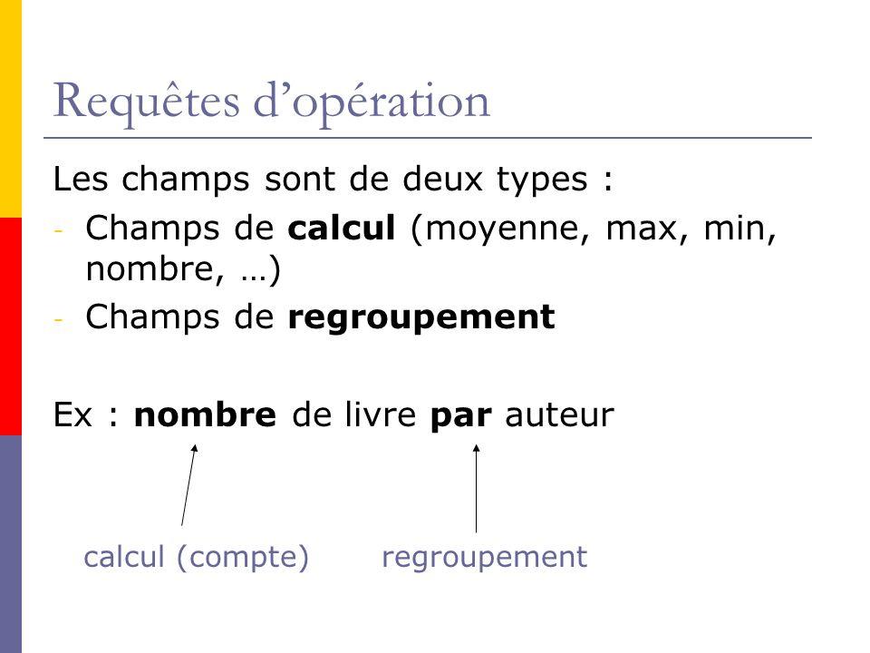 Requêtes dopération Les champs sont de deux types : - Champs de calcul (moyenne, max, min, nombre, …) - Champs de regroupement Ex : nombre de livre pa
