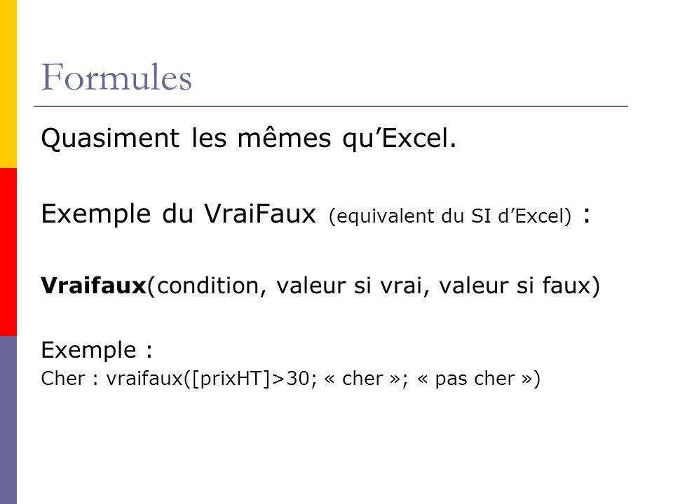 Formules Quasiment les mêmes quExcel. Exemple du VraiFaux (equivalent du SI dExcel) : Vraifaux(condition, valeur si vrai, valeur si faux) Exemple : Ch