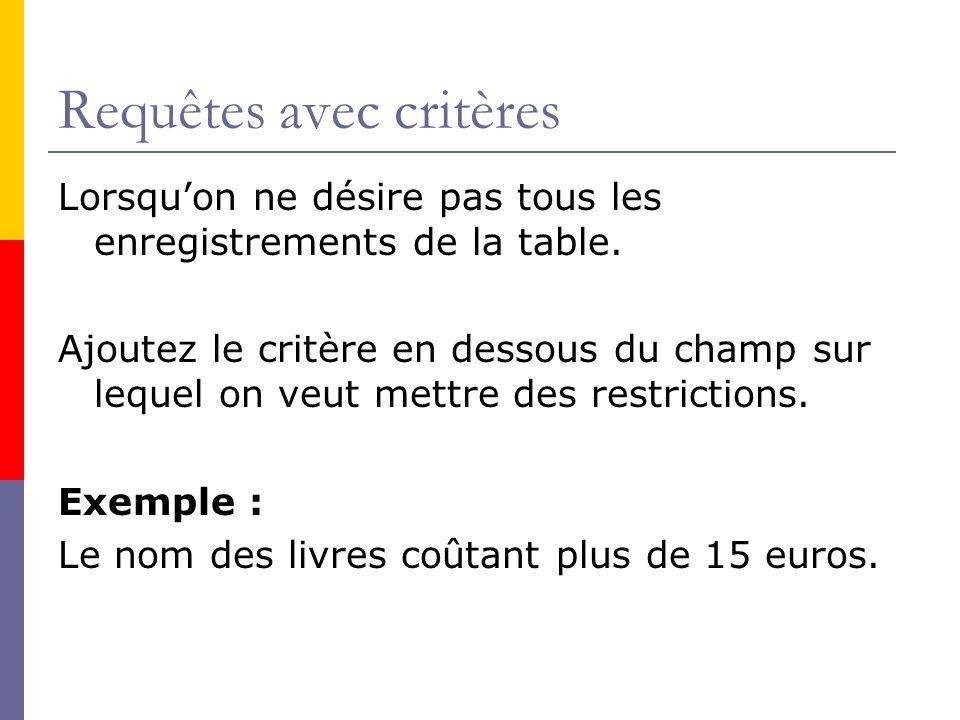 Requêtes avec critères Lorsquon ne désire pas tous les enregistrements de la table. Ajoutez le critère en dessous du champ sur lequel on veut mettre d