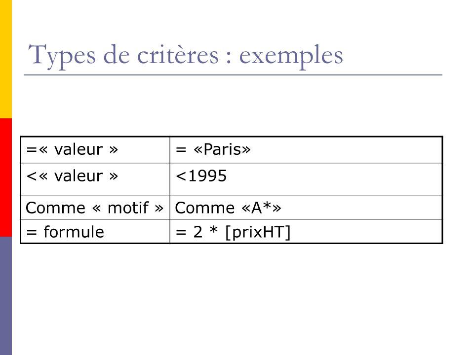 Types de critères : exemples =« valeur »= «Paris» <« valeur »<1995 Comme « motif »Comme «A*» = formule= 2 * [prixHT]