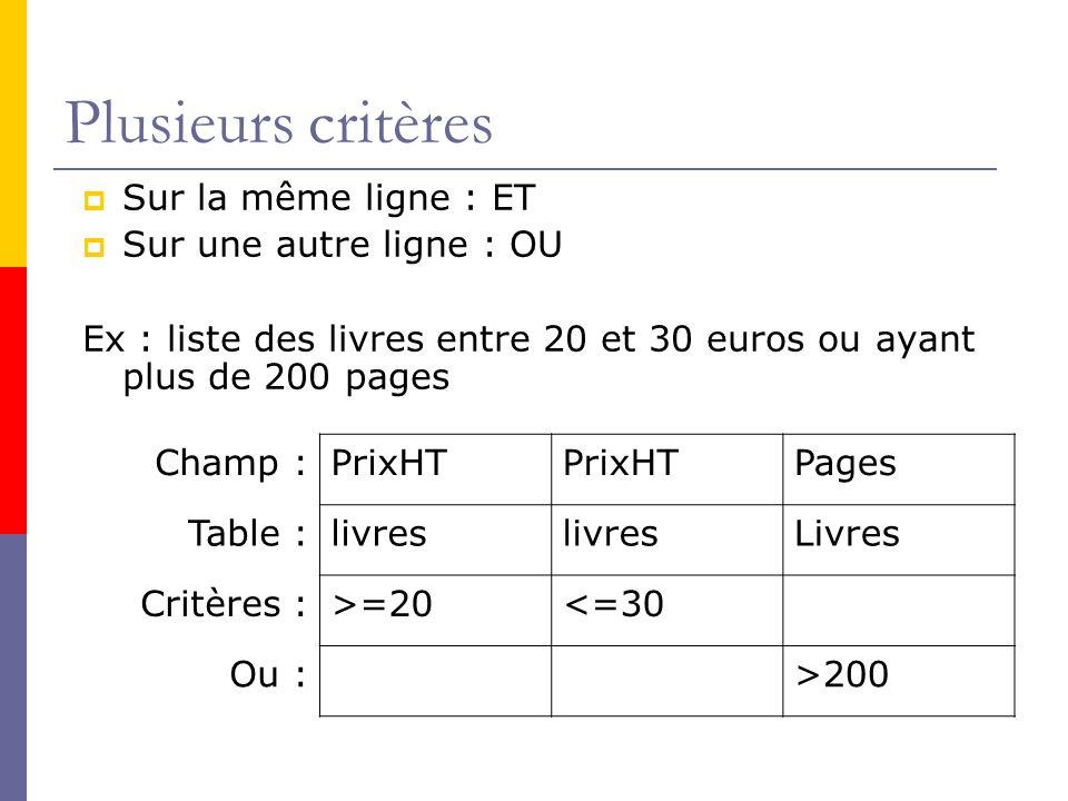 Plusieurs critères Sur la même ligne : ET Sur une autre ligne : OU Ex : liste des livres entre 20 et 30 euros ou ayant plus de 200 pages Champ :PrixHT