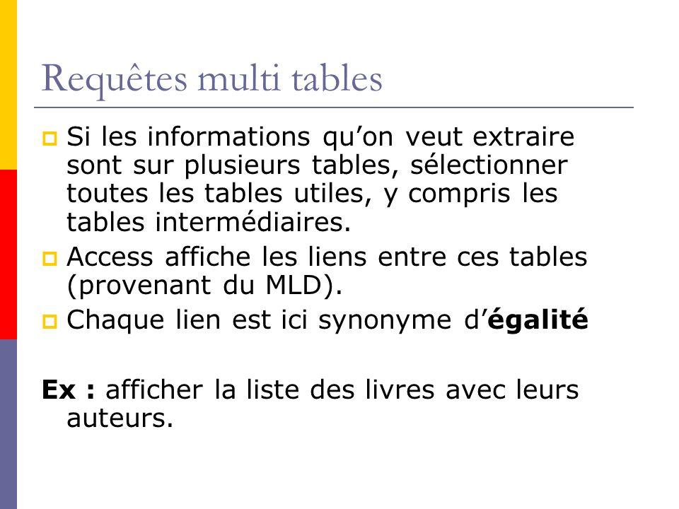 Requêtes multi tables Si les informations quon veut extraire sont sur plusieurs tables, sélectionner toutes les tables utiles, y compris les tables in