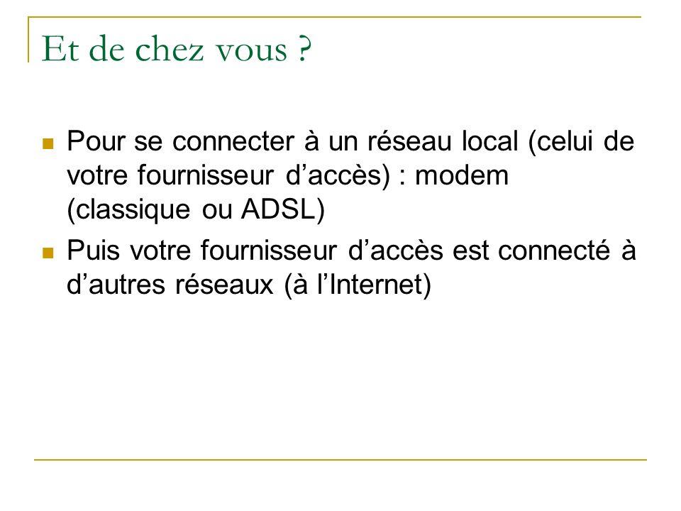 Et de chez vous ? Pour se connecter à un réseau local (celui de votre fournisseur daccès) : modem (classique ou ADSL) Puis votre fournisseur daccès es
