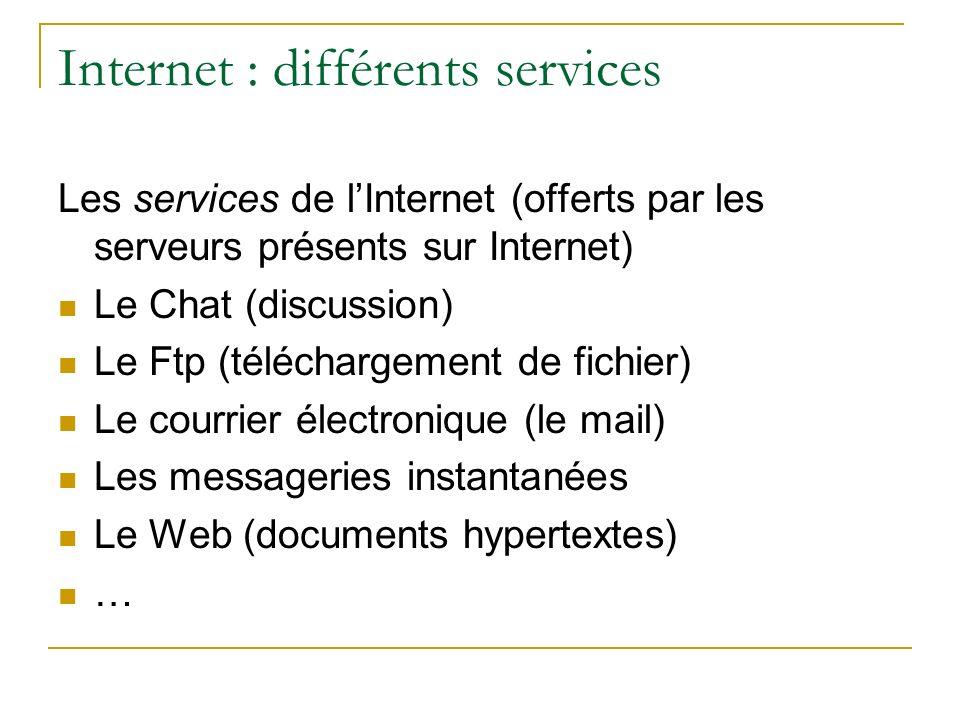 Internet : différents services Les services de lInternet (offerts par les serveurs présents sur Internet) Le Chat (discussion) Le Ftp (téléchargement