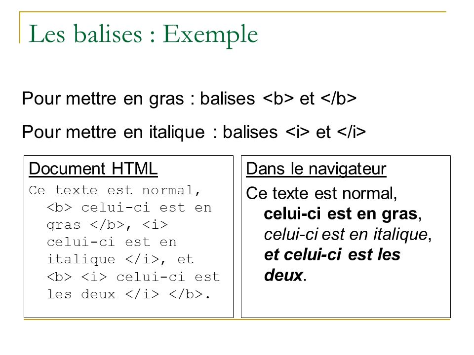 Les balises : Exemple Document HTML Ce texte est normal, celui-ci est en gras, celui-ci est en italique, et celui-ci est les deux. Dans le navigateur