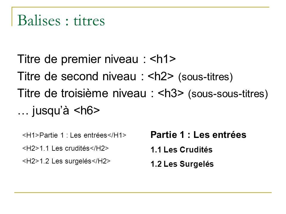 Balises : titres Titre de premier niveau : Titre de second niveau : (sous-titres) Titre de troisième niveau : (sous-sous-titres) … jusquà Partie 1 : L