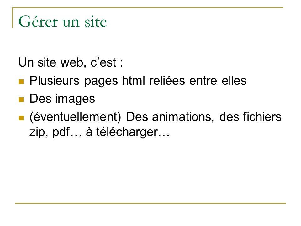 Gérer un site Un site web, cest : Plusieurs pages html reliées entre elles Des images (éventuellement) Des animations, des fichiers zip, pdf… à téléch