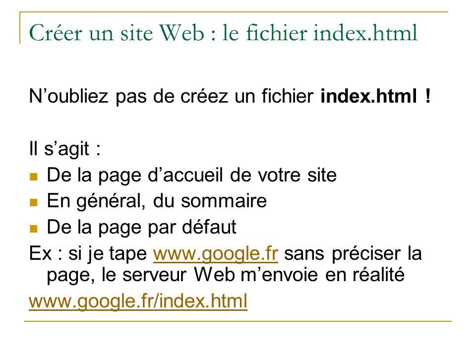 Créer un site Web : le fichier index.html Noubliez pas de créez un fichier index.html ! Il sagit : De la page daccueil de votre site En général, du so