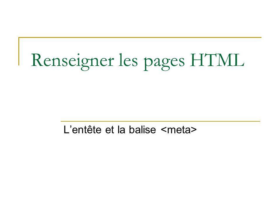 Renseigner les pages HTML Lentête et la balise