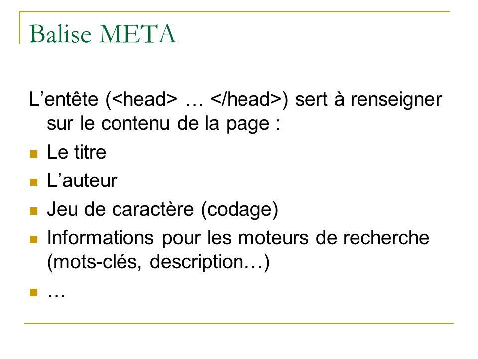 Balise META Lentête ( … ) sert à renseigner sur le contenu de la page : Le titre Lauteur Jeu de caractère (codage) Informations pour les moteurs de re