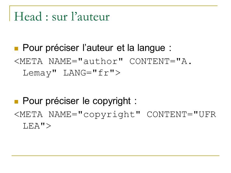 Head : sur lauteur Pour préciser lauteur et la langue : Pour préciser le copyright :
