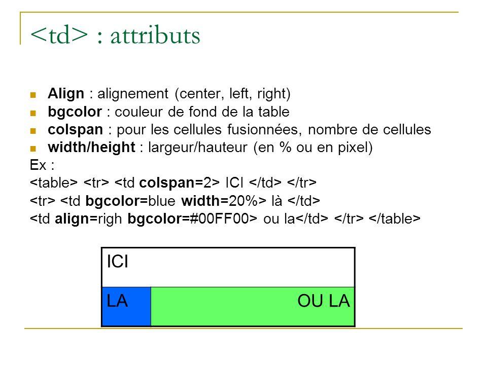 : attributs Align : alignement (center, left, right) bgcolor : couleur de fond de la table colspan : pour les cellules fusionnées, nombre de cellules