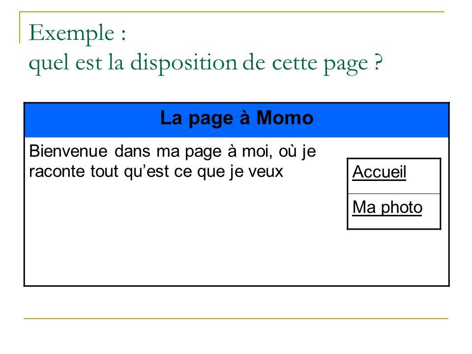 Exemple : quel est la disposition de cette page ? La page à Momo Bienvenue dans ma page à moi, où je raconte tout quest ce que je veux Accueil Ma phot