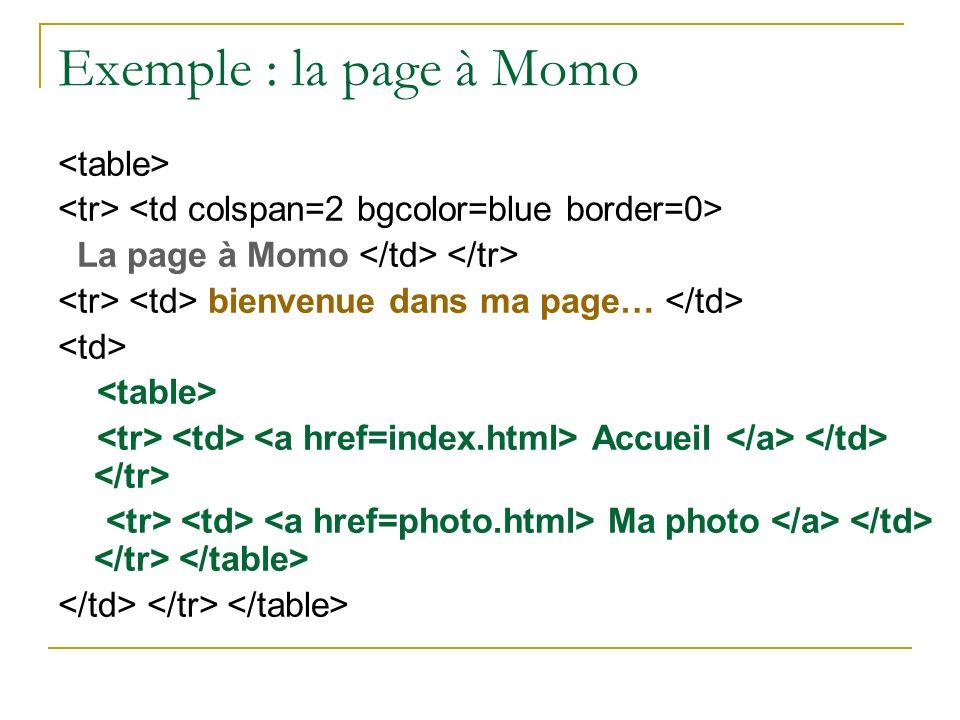 Exemple : la page à Momo La page à Momo bienvenue dans ma page… Accueil Ma photo