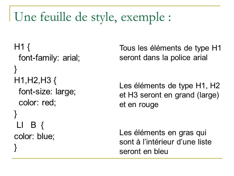 Une feuille de style, exemple : H1 { font-family: arial; } H1,H2,H3 { font-size: large; color: red; } LI B { color: blue; } Tous les éléments de type