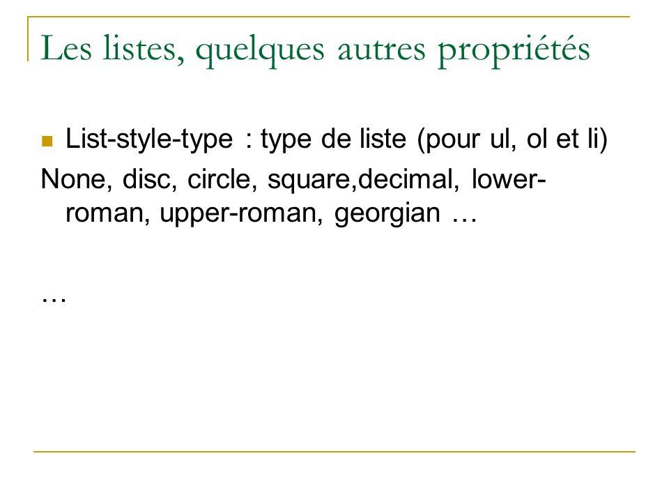 Les listes, quelques autres propriétés List-style-type : type de liste (pour ul, ol et li) None, disc, circle, square,decimal, lower- roman, upper-rom