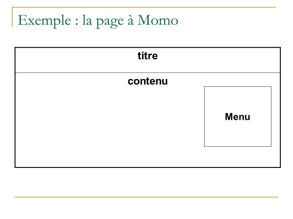 Exemple : la page à Momo titre contenu Menu