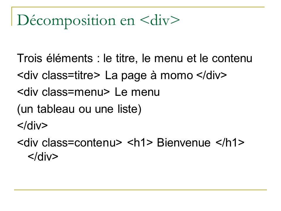 Décomposition en Trois éléments : le titre, le menu et le contenu La page à momo Le menu (un tableau ou une liste) Bienvenue