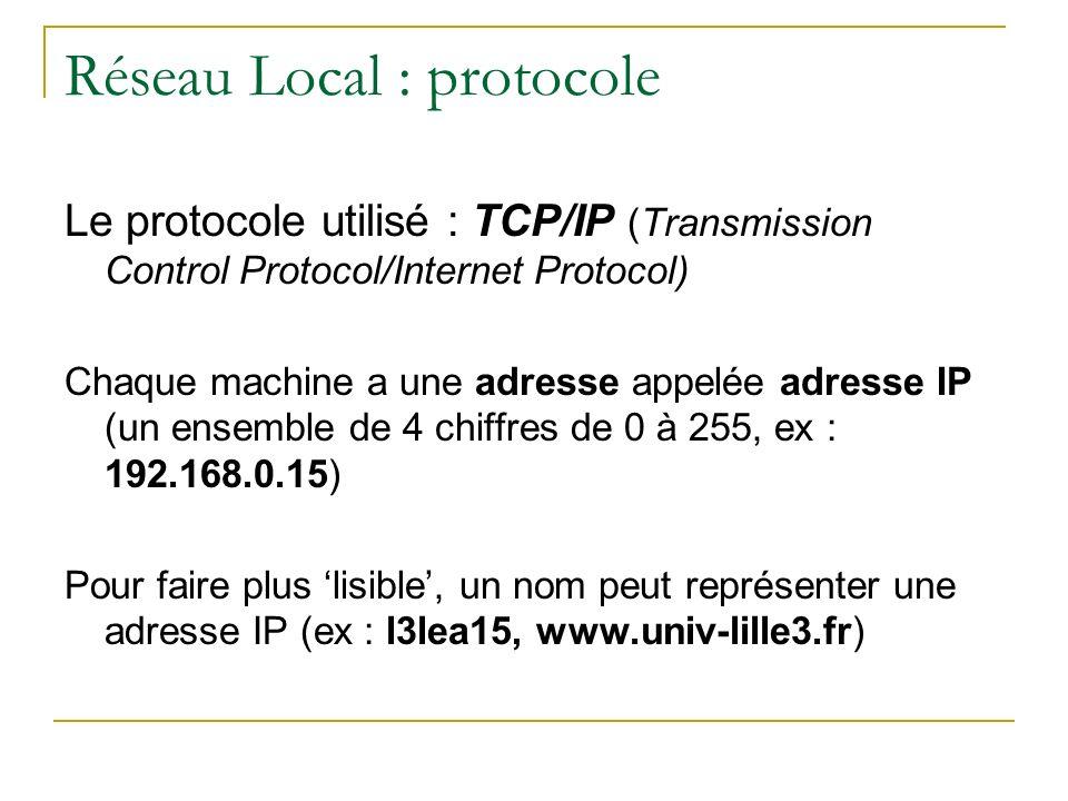Réseau Local : protocole Le protocole utilisé : TCP/IP (Transmission Control Protocol/Internet Protocol) Chaque machine a une adresse appelée adresse