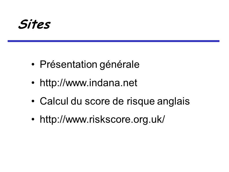 Sites Présentation générale http://www.indana.net Calcul du score de risque anglais http://www.riskscore.org.uk/