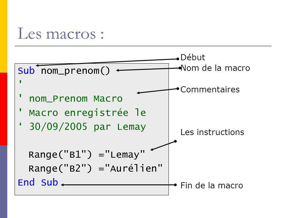 Les macros : Sub nom_prenom() nom_Prenom Macro Macro enregistrée le 30/09/2005 par Lemay Range( B1 ) = Lemay Range( B2 ) = Aurélien End Sub Début Nom de la macro Commentaires Les instructions Fin de la macro