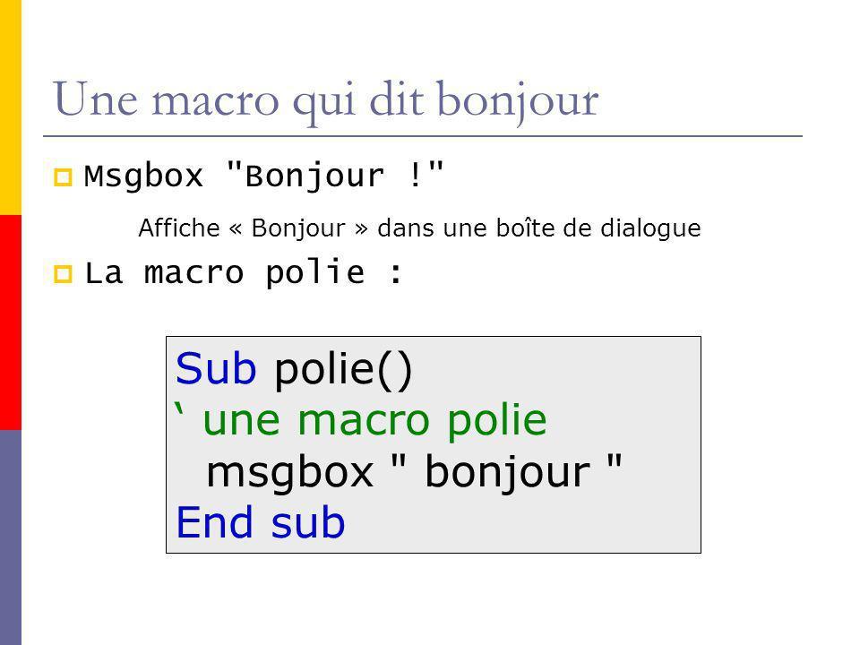 Une macro qui dit bonjour Msgbox Bonjour ! Affiche « Bonjour » dans une boîte de dialogue La macro polie : Sub polie() une macro polie msgbox bonjour End sub