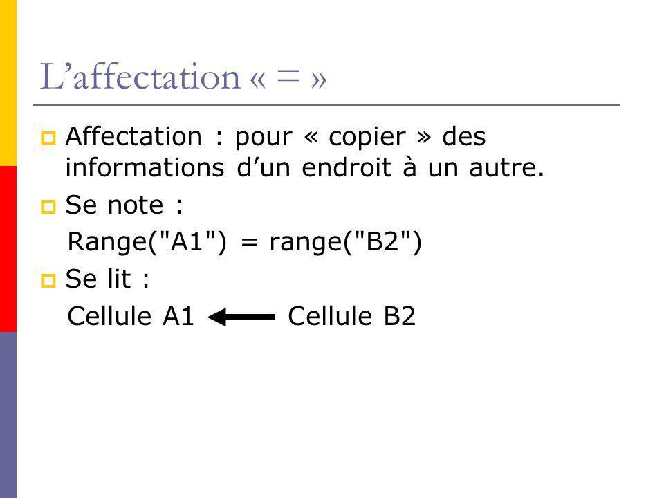 Laffectation « = » Affectation : pour « copier » des informations dun endroit à un autre.