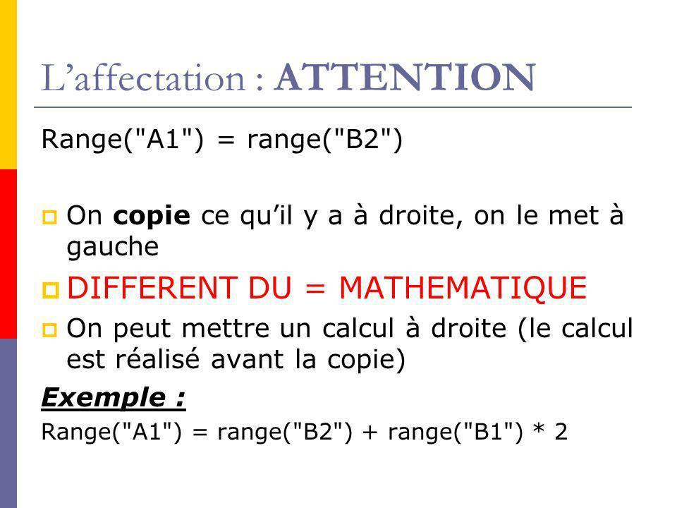 Laffectation : ATTENTION Range( A1 ) = range( B2 ) On copie ce quil y a à droite, on le met à gauche DIFFERENT DU = MATHEMATIQUE On peut mettre un calcul à droite (le calcul est réalisé avant la copie) Exemple : Range( A1 ) = range( B2 ) + range( B1 ) * 2