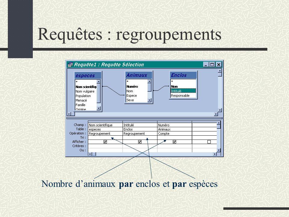 Requêtes : regroupements Nombre danimaux par enclos et par espèces