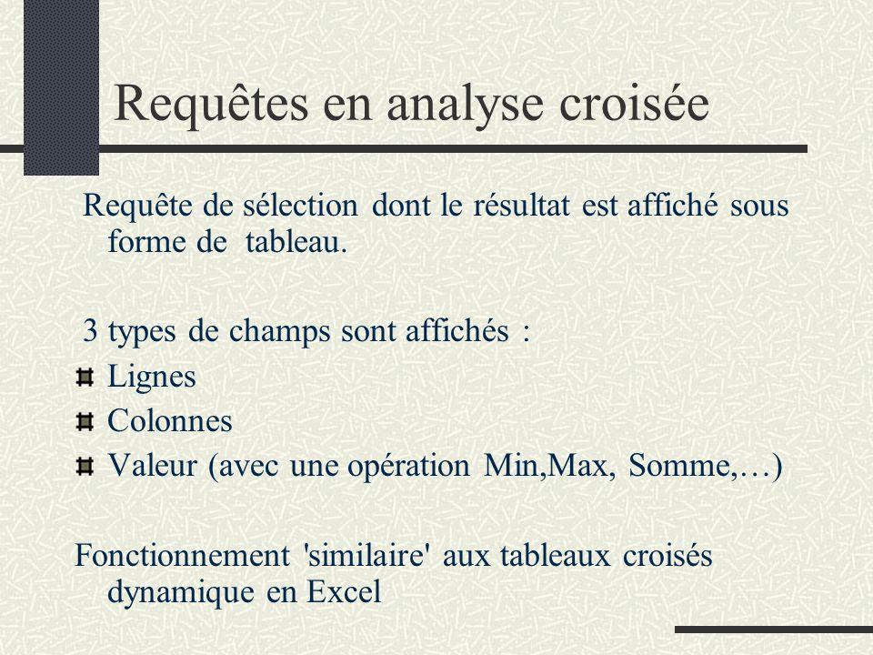 Requêtes en analyse croisée Requête de sélection dont le résultat est affiché sous forme de tableau. 3 types de champs sont affichés : Lignes Colonnes