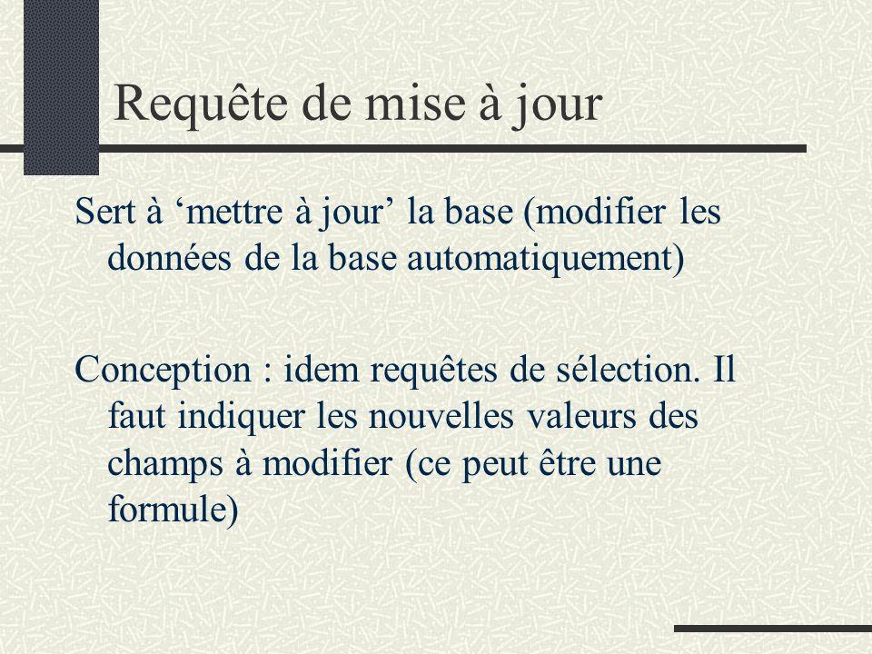 Requête de mise à jour Sert à mettre à jour la base (modifier les données de la base automatiquement) Conception : idem requêtes de sélection. Il faut