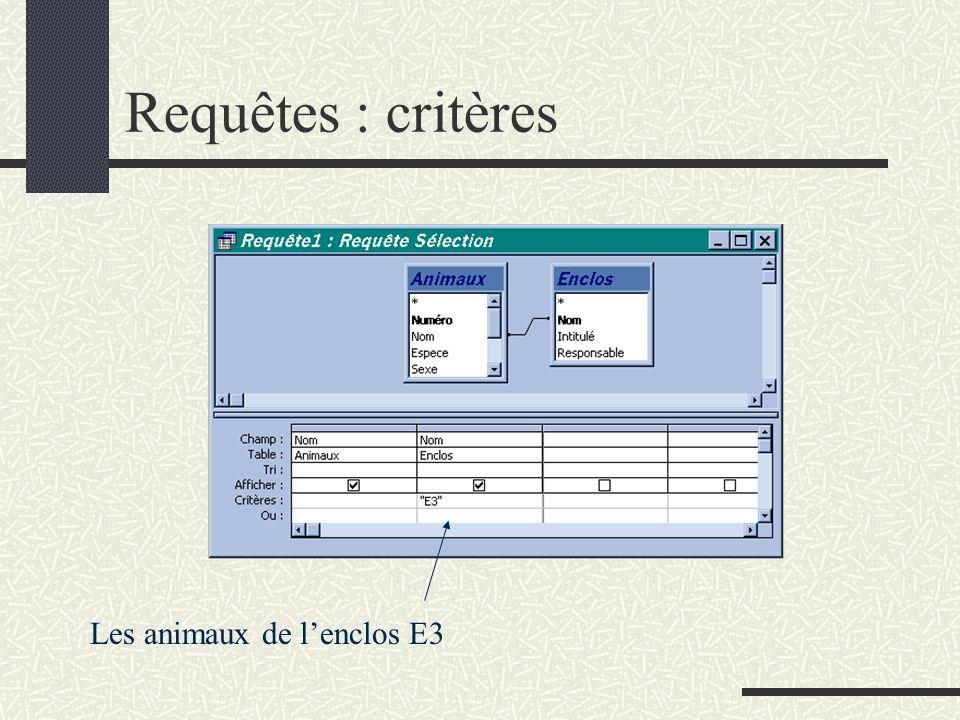 Requêtes : critères Les animaux de lenclos E3
