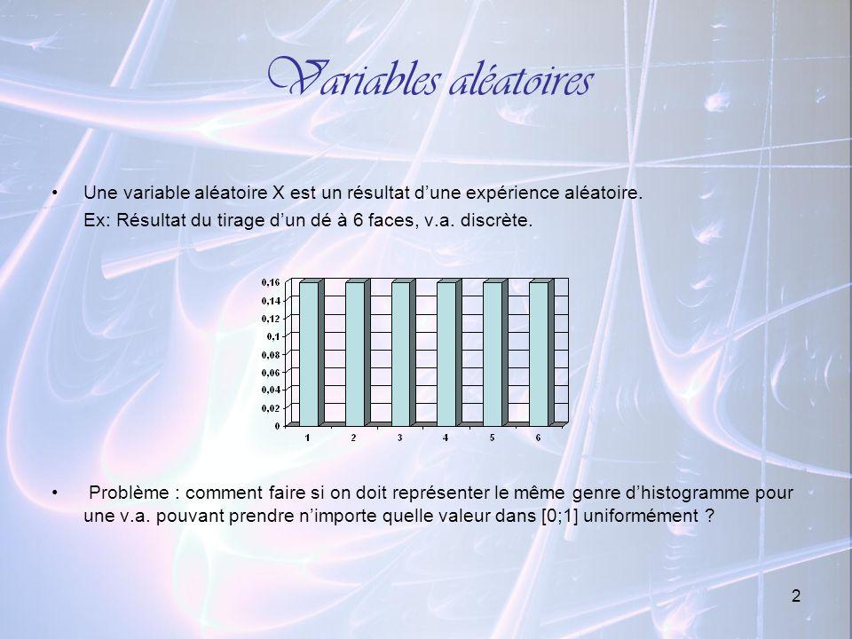2 Variables aléatoires Une variable aléatoire X est un résultat dune expérience aléatoire. Ex: Résultat du tirage dun dé à 6 faces, v.a. discrète. Pro