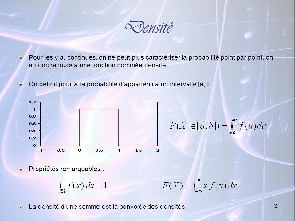 3 Densité Pour les v.a. continues, on ne peut plus caractériser la probabilité point par point, on a donc recours à une fonction nommée densité. On dé