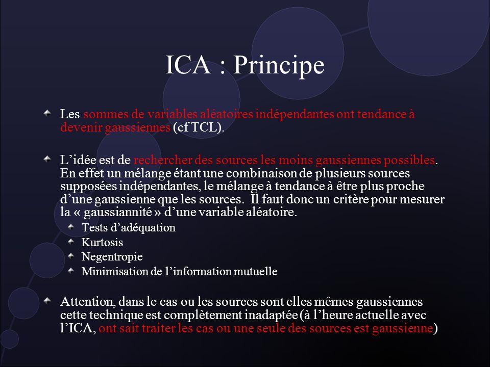 ICA : Principe Les sommes de variables aléatoires indépendantes ont tendance à devenir gaussiennes (cf TCL).