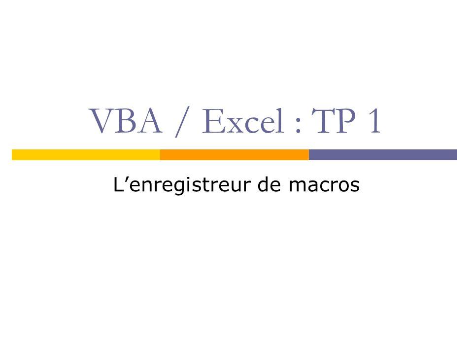 But du cours Maîtriser Excel Savoir réaliser des macros sous Excel Sinitier (un peu) à la programmation Comprendre le langage Visual Basic for Applications (VBA) (réaliser un projet Excel complet)