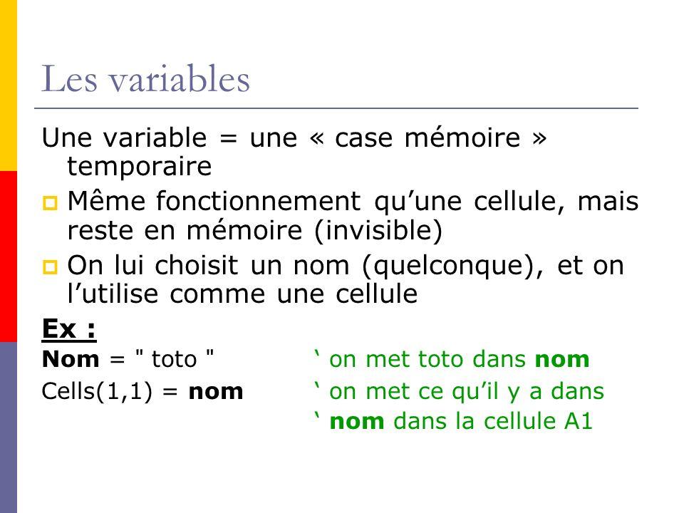 Les variables Une variable = une « case mémoire » temporaire Même fonctionnement quune cellule, mais reste en mémoire (invisible) On lui choisit un no
