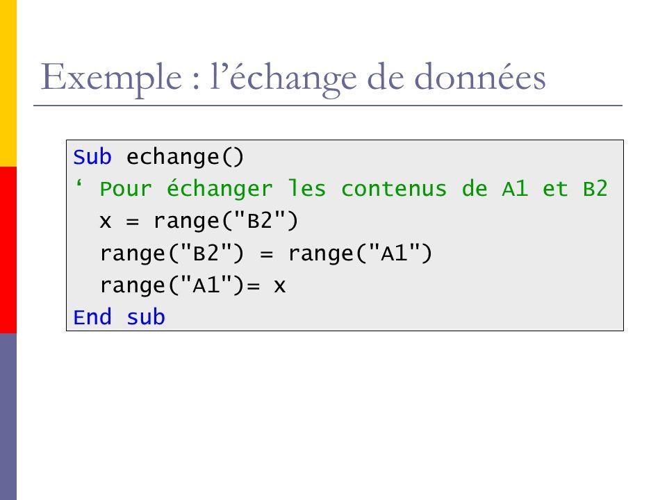 Exemple : léchange de données Sub echange() Pour échanger les contenus de A1 et B2 x = range(