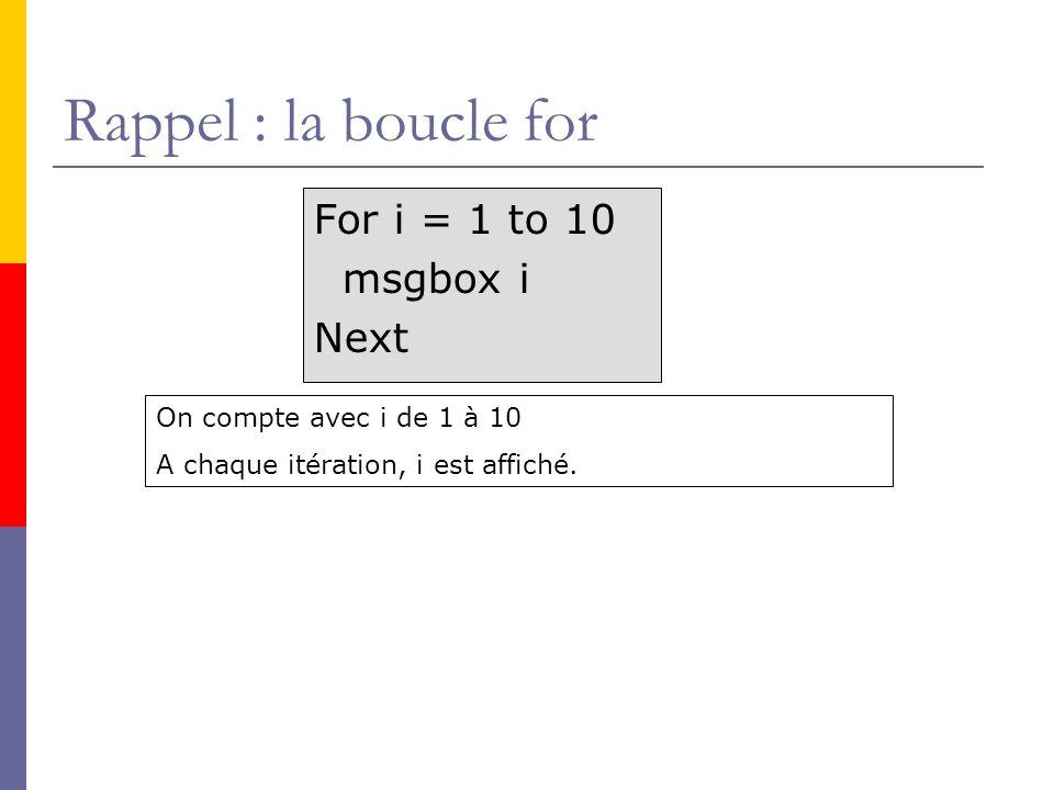 Rappel : la boucle for For i = 1 to 10 msgbox i Next On compte avec i de 1 à 10 A chaque itération, i est affiché.