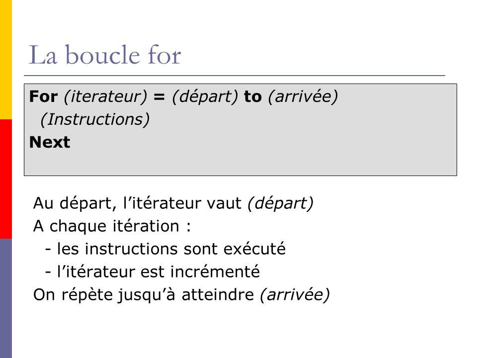 La boucle for For (iterateur) = (départ) to (arrivée) (Instructions) Next Au départ, litérateur vaut (départ) A chaque itération : - les instructions