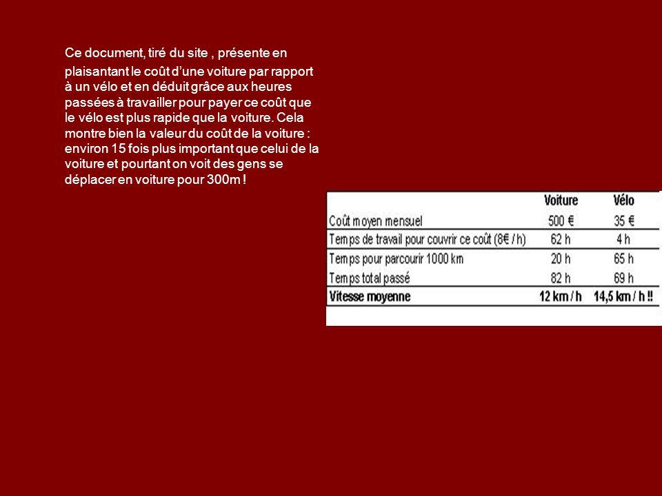 Ce document, tiré du site, présente en plaisantant le coût dune voiture par rapport à un vélo et en déduit grâce aux heures passées à travailler pour payer ce coût que le vélo est plus rapide que la voiture.