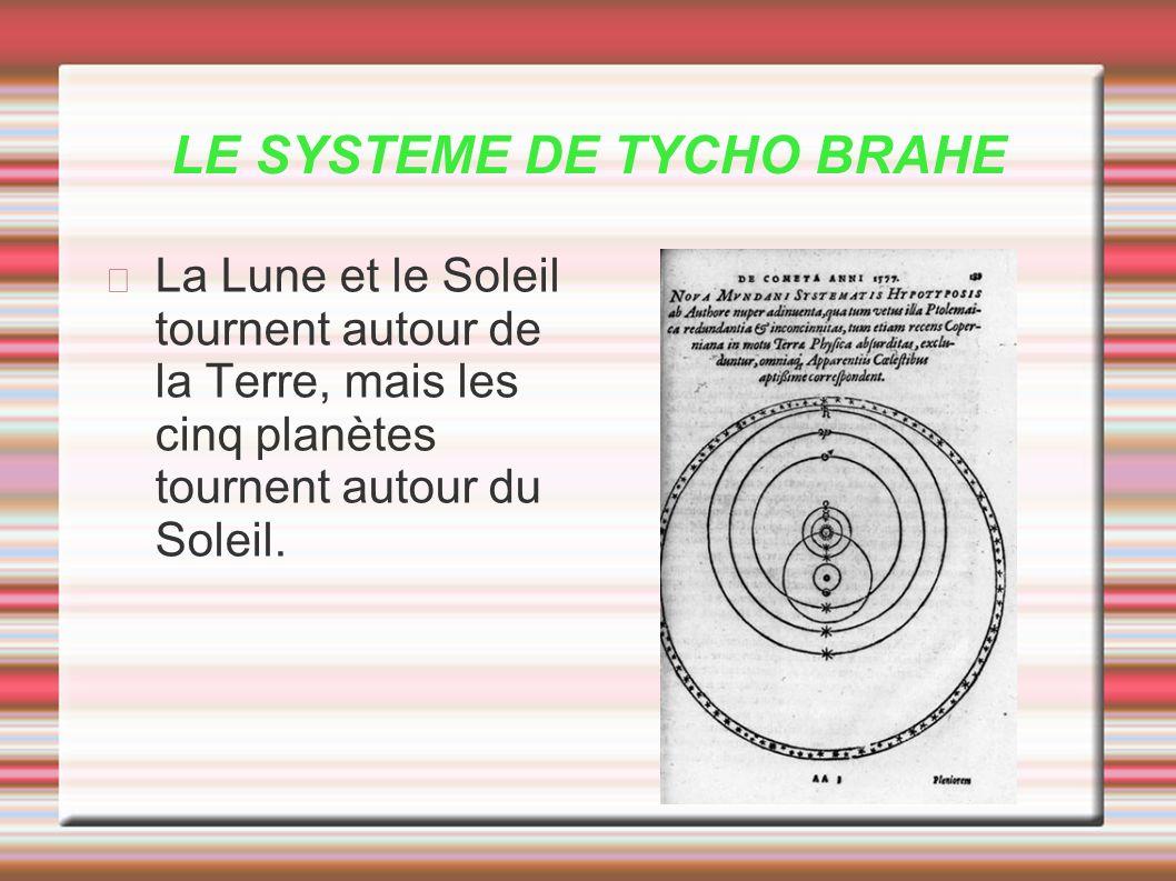 LE SYSTEME DE TYCHO BRAHE La Lune et le Soleil tournent autour de la Terre, mais les cinq planètes tournent autour du Soleil.