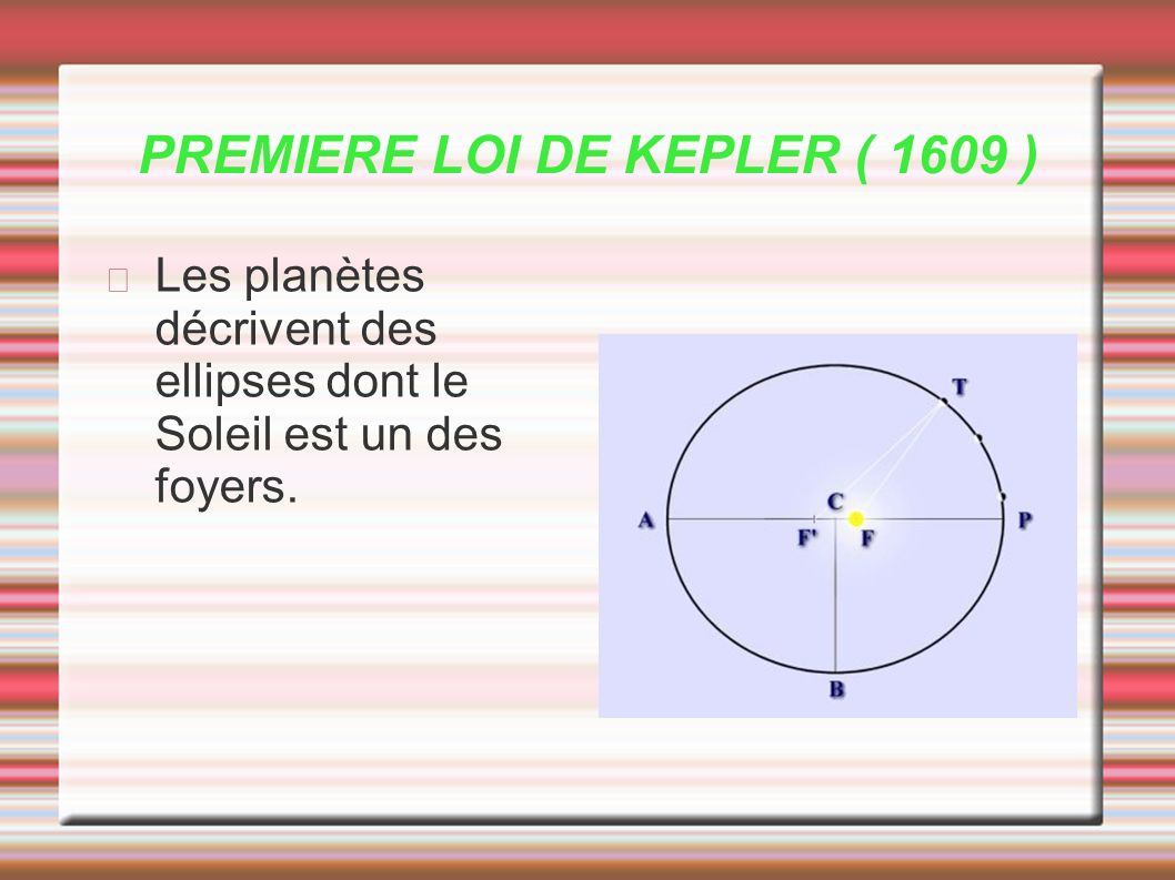 PREMIERE LOI DE KEPLER ( 1609 ) Les planètes décrivent des ellipses dont le Soleil est un des foyers.