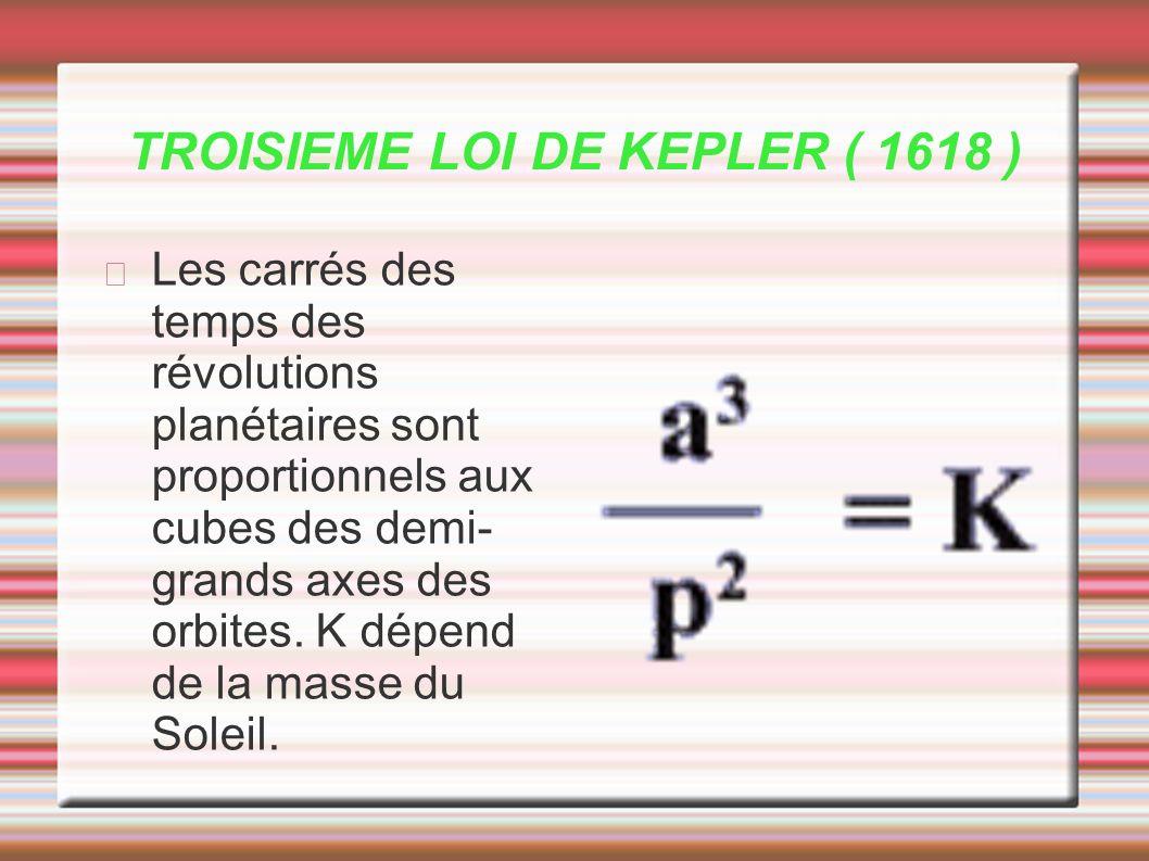 TROISIEME LOI DE KEPLER ( 1618 ) Les carrés des temps des révolutions planétaires sont proportionnels aux cubes des demi- grands axes des orbites. K d