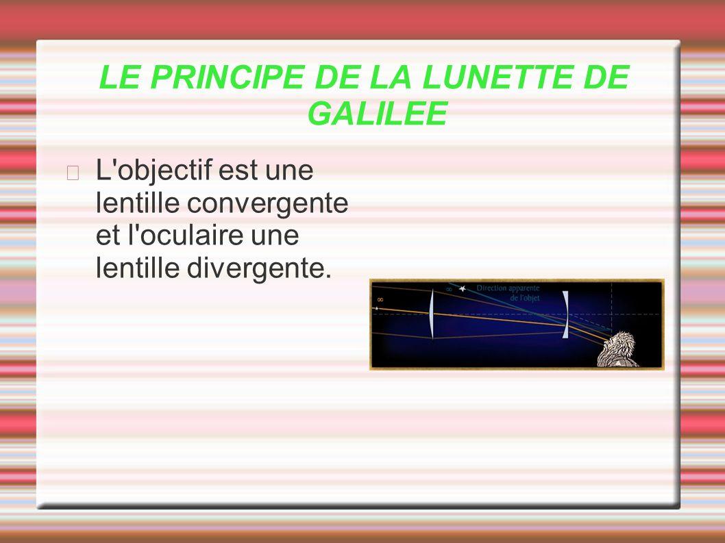 LE PRINCIPE DE LA LUNETTE DE GALILEE L'objectif est une lentille convergente et l'oculaire une lentille divergente.