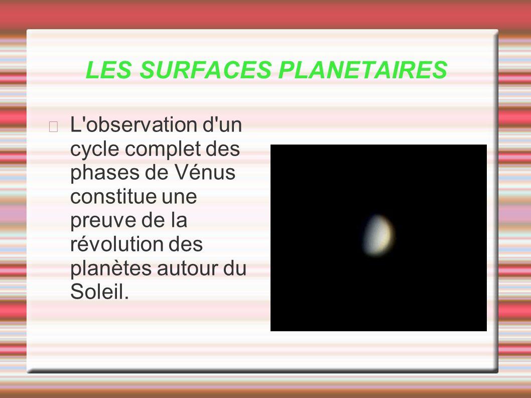LES SURFACES PLANETAIRES L'observation d'un cycle complet des phases de Vénus constitue une preuve de la révolution des planètes autour du Soleil.